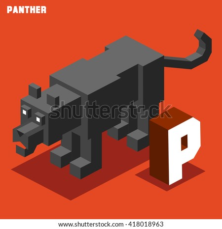 P for panther. Animal Alphabet collection. vector illustration - stock vector