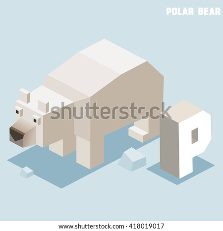 P for Polar bear. Animal Alphabet collection. vector illustration - stock vector