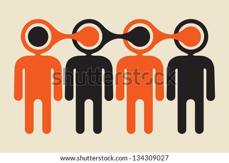 p2p viral information  spreading chain concept - stock vector