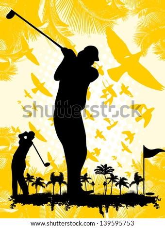 pacific ocean golf player vector art - stock vector