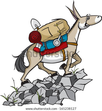 Pack Mule A cartoon Pack Mule with gear. Vector file. - stock vector
