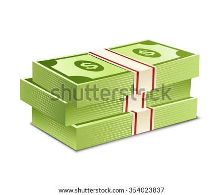 Pack of bank notes. Vector illustration. Packs of dollars money - stock vector