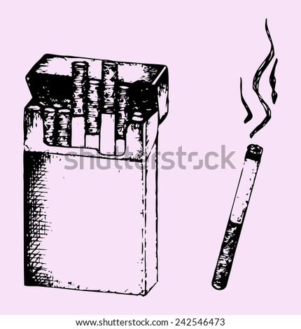 Pack of the cigarettes and lit cigarette with smoke isolated on pink background - stock vector