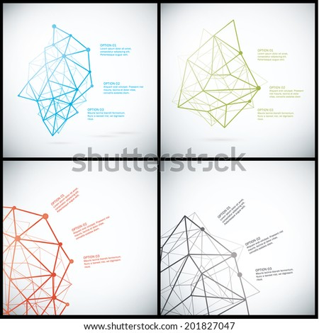 Pack of vector abstract templates. Decorative banners with place for your text. Futuristic technology - geometrical structure. - stock vector