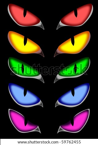 pack of vector scary eyes - stock vector