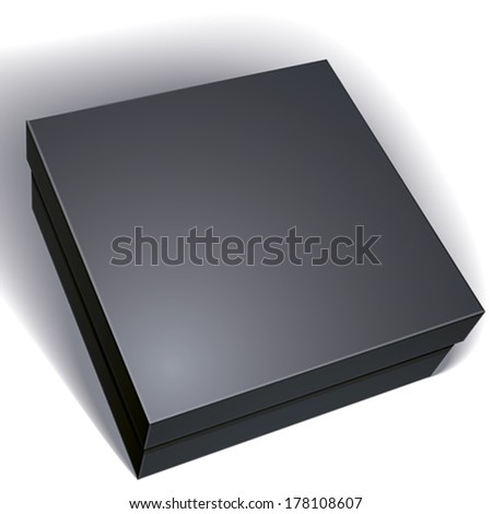 Package black box design isolated on white background, template for your package design, put your image over the box, vector illustration eps 8. - stock vector