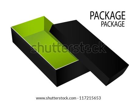Package Design Box Opened Black Inside Green - stock vector