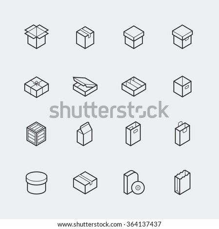 Package related vector icon set in thin line style - stock vector