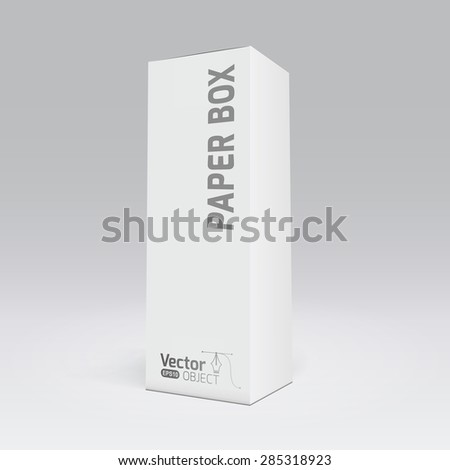 Package white box long design, 3D vector illustration - stock vector