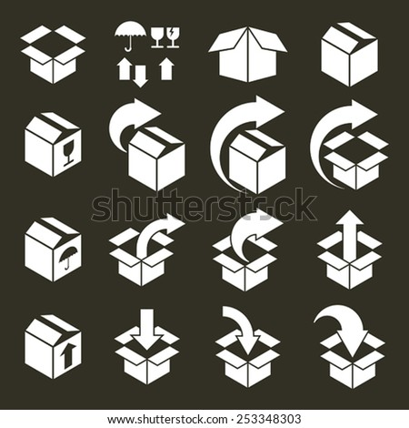 Packaging boxes icons vector set, pack simplistic symbols vector collections. - stock vector