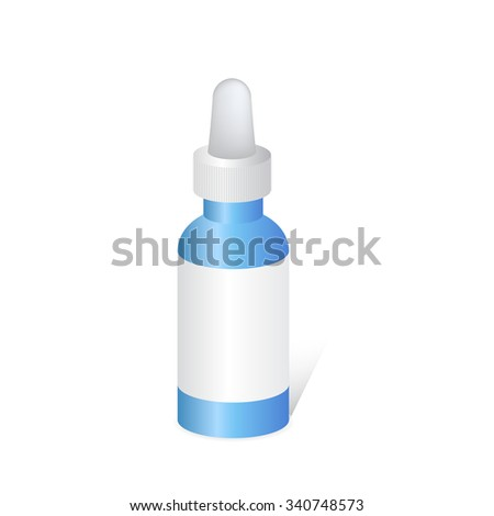 Packaging for medicines for dripping the drug. Bottle for nose drops. - stock vector