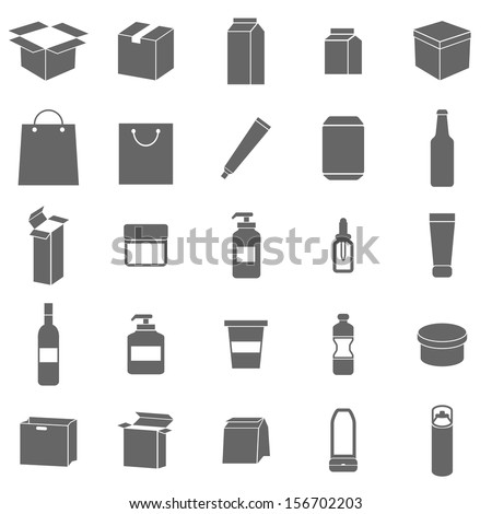 Packaging icons on white background, stock vector - stock vector