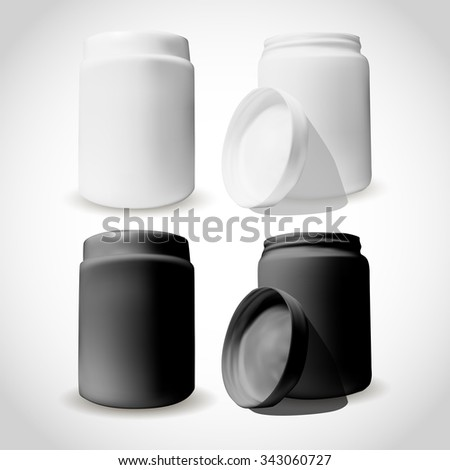 Packaging of cosmetics box in white and black color. Open and close. Mock-up for beauty design.  - stock vector