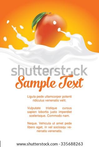 packaging of splash milk or yogurt with mango - stock vector
