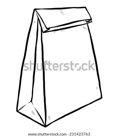 packaging, paper bag / cartoon vector and illustration, black and white, hand drawn, sketch style, isolated on white background. - stock vector