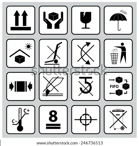 Packaging symbols (this way up, handle with care, fragile, keep dry, use fifo system, do not use hand hooks, do not use cutter, temperature limitation, do not roll, do not recycle, no hand trucks). - stock vector