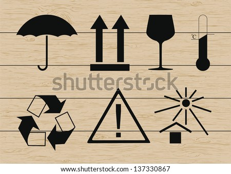 Packing symbols set on wooden background. Vector illustration - stock vector