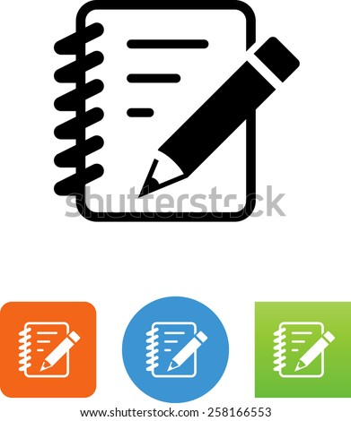 Pad of paper with pencil symbol for download. Vector icons for video, mobile apps, Web sites and print projects.  - stock vector