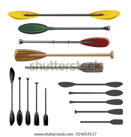 Paddles and oars vector icons set. Sport rowing, travel kayaking, activity extreme illustration - stock vector