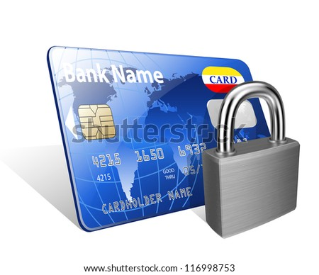 Padlock and credit card. Concept of a safe payment - stock vector