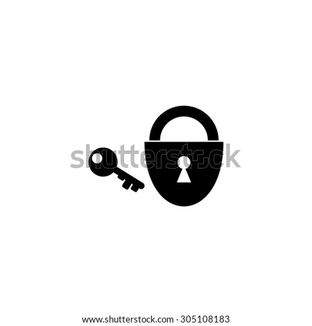 Padlock and key. Black simple vector icon - stock vector