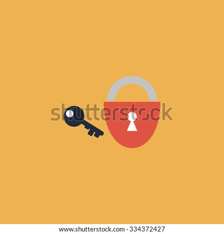 Padlock and key. Colorful vector icon. Simple retro color modern illustration pictogram. Collection concept symbol for infographic project and logo - stock vector