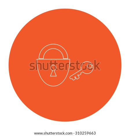 Padlock and key. Flat outline white pictogram in the orange circle. Vector illustration icon - stock vector