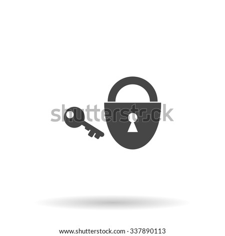 Padlock and key. Icon Vector - stock vector