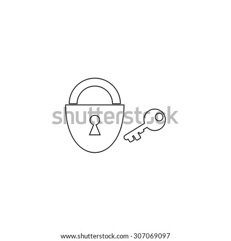 Padlock and key. Outline black simple vector pictogram - stock vector
