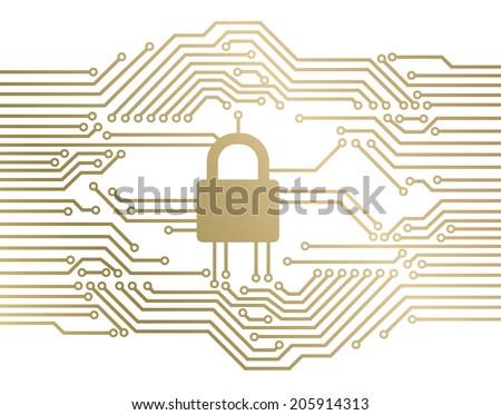 Padlock circuit - stock vector