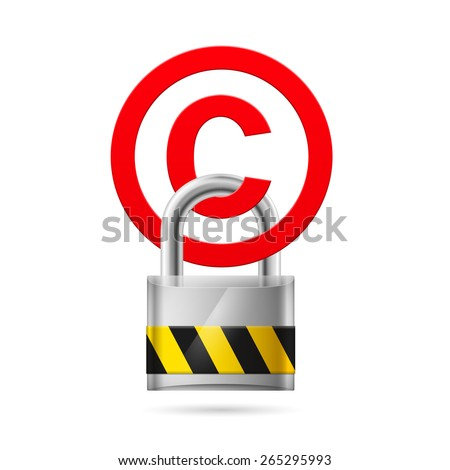 Padlock hanging on a red copyright symbol  - stock vector