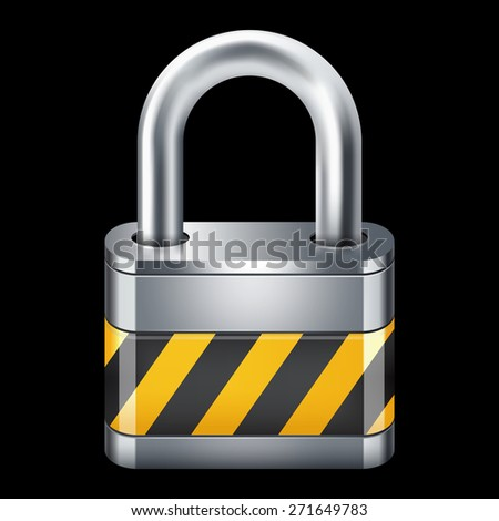Padlock icon. Isolated on black 10 eps - stock vector