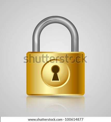 Padlock icon isolated on grey background - stock vector