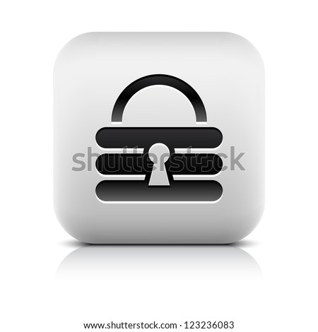 Padlock icon web sign. Series in a stone style. Rounded square button with black shadow and gray reflection on white background. Vector illustration clip-art design element in 8 eps - stock vector