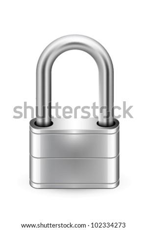 padlock icon white background - stock vector