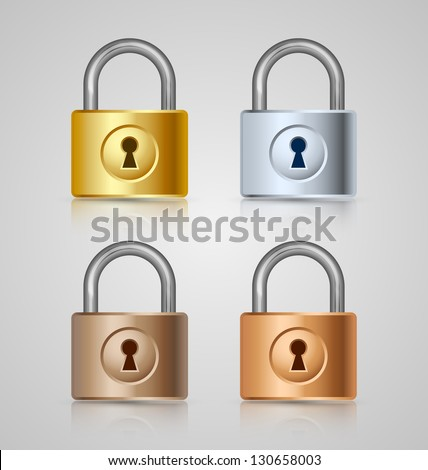 Padlock icons isolated on grey background - stock vector