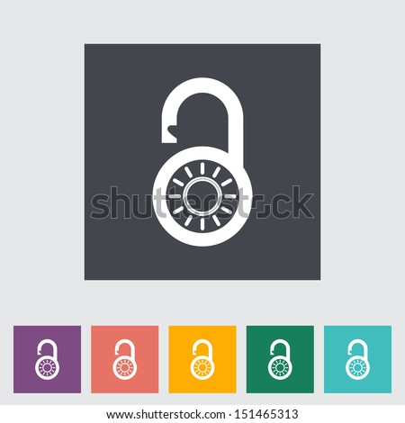 Padlock. Single flat icon. Vector illustration. - stock vector