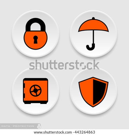 Padlock umbrella safe and shield data protection icons - stock vector