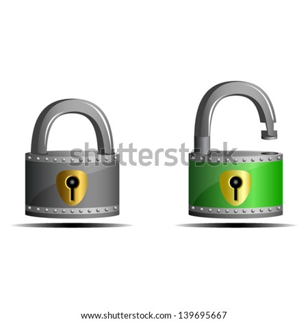 Padlocks, gray locked and green unlocked - icon isolated on white background. Vector - stock vector