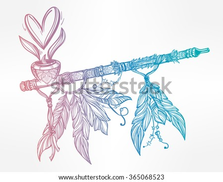 Pagan Indian smoking pipe of love and peace. - stock vector