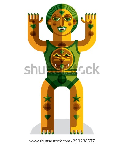 Pagan symbol vector illustration, spiritual cult theme. Modernistic drawing of a weird character. Flat design portrait isolated on white. Colorful drawing of bizarre beast. - stock vector