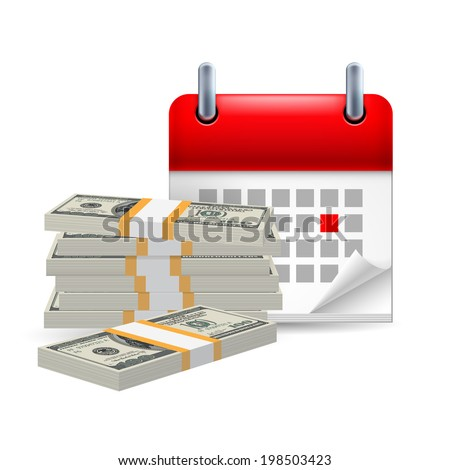 Page calendar with a marked red-letter day of the week. Near to money (dollars) - stock vector