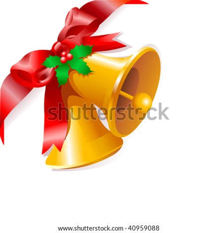 Page corner with Christmas bells. Place for copy/text. - stock vector