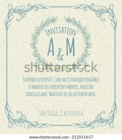 page decoration template vintage frame - stock vector