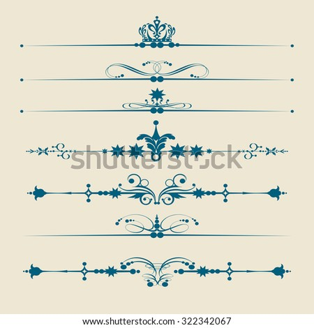Page Dividers, Dividers,Vintage, Decorative vector dividers, Decorative Ornament Borders, Calligraphic Design Elements - stock vector