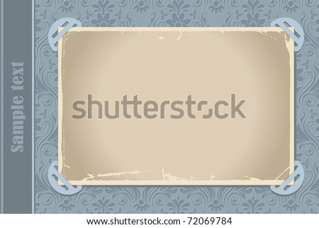 Page from a retro-styled photo album with blank photo frame - stock vector