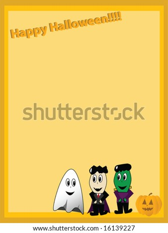 Page layout for Halloween illustrated with cartoon characters - stock vector