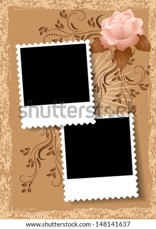Page layout photo album with rose - stock vector