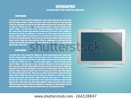 Page 4 of 4. Abstract touchscreen tablet computer  for info graphic, presentation, books, documents, web design etc - stock vector
