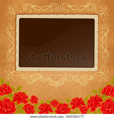 Page of photo album. Vintage background with old paper, photoframe, and red roses. - stock vector